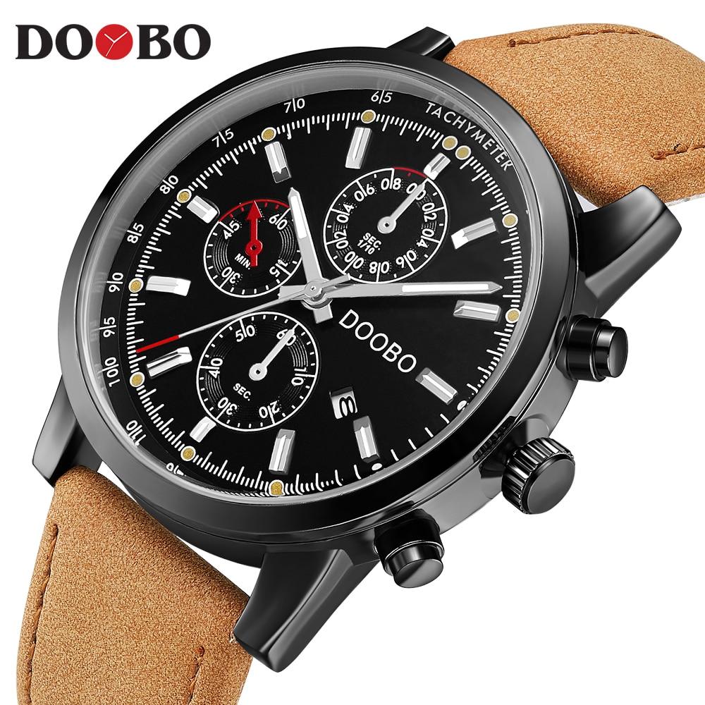 Luxury Brand DOOBO Men Military Sports Watches Men's Quartz Date Clock Man Casual Leather Wrist Watch Relogio Masculino D039