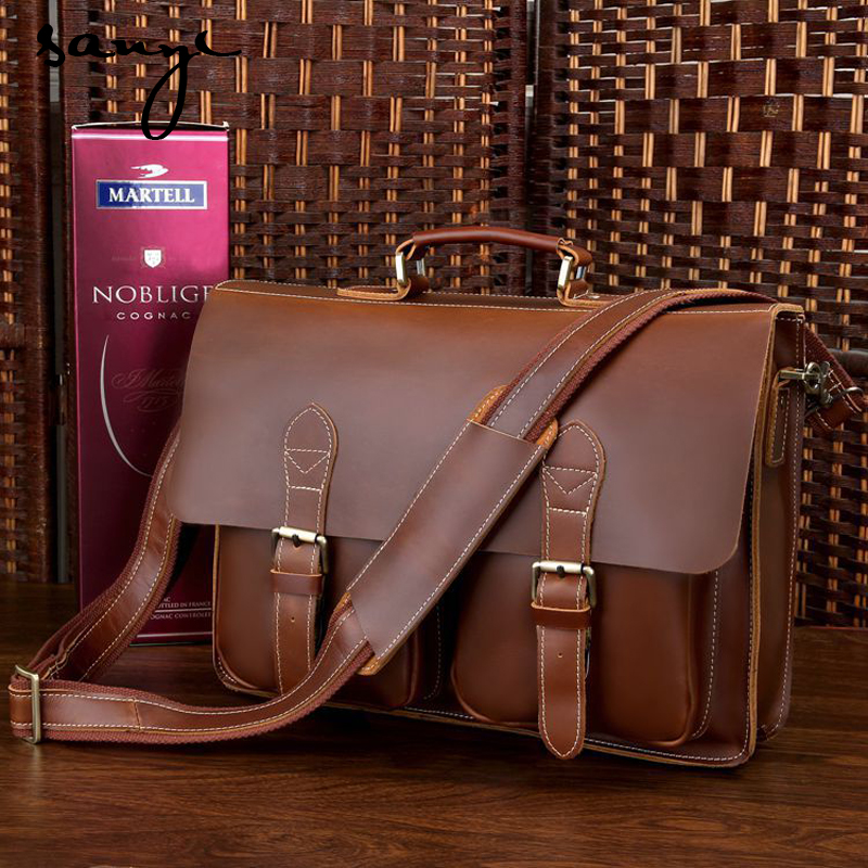 SANYI Business Men Genuine Leather Bag Fashion Brand Designer Handbags Shoulder Business Laptop Tote Bag  Briefcase Man Bags