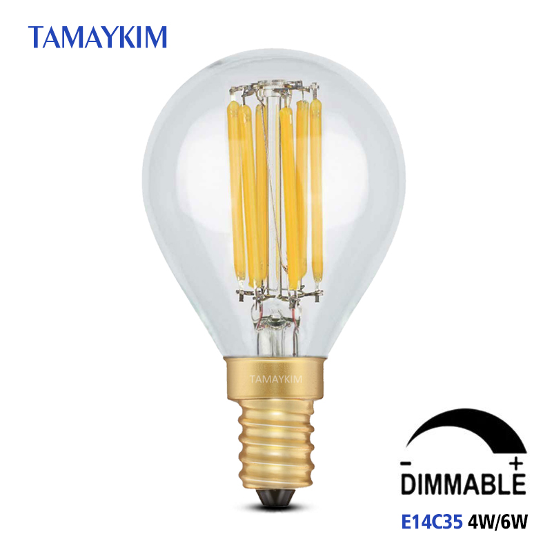 Dimmable E14 G45 LED Vintage Filament Light Bulb,4W 6W 220V-240V,Clear or Frosted Glass Retro Globe Bulbs,Cold White Warm White high brightness 1pcs led edison bulb indoor led light clear glass ac220 230v e27 2w 4w 6w 8w led filament bulb white warm white