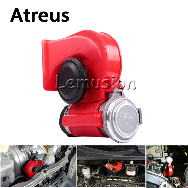 Atreus Car Styling 12V 130db Two Tone Snail Air Horn For Mercedes w203 w204 Benz Peugeot 307 206 308 Opel Astra h j g Accessorie