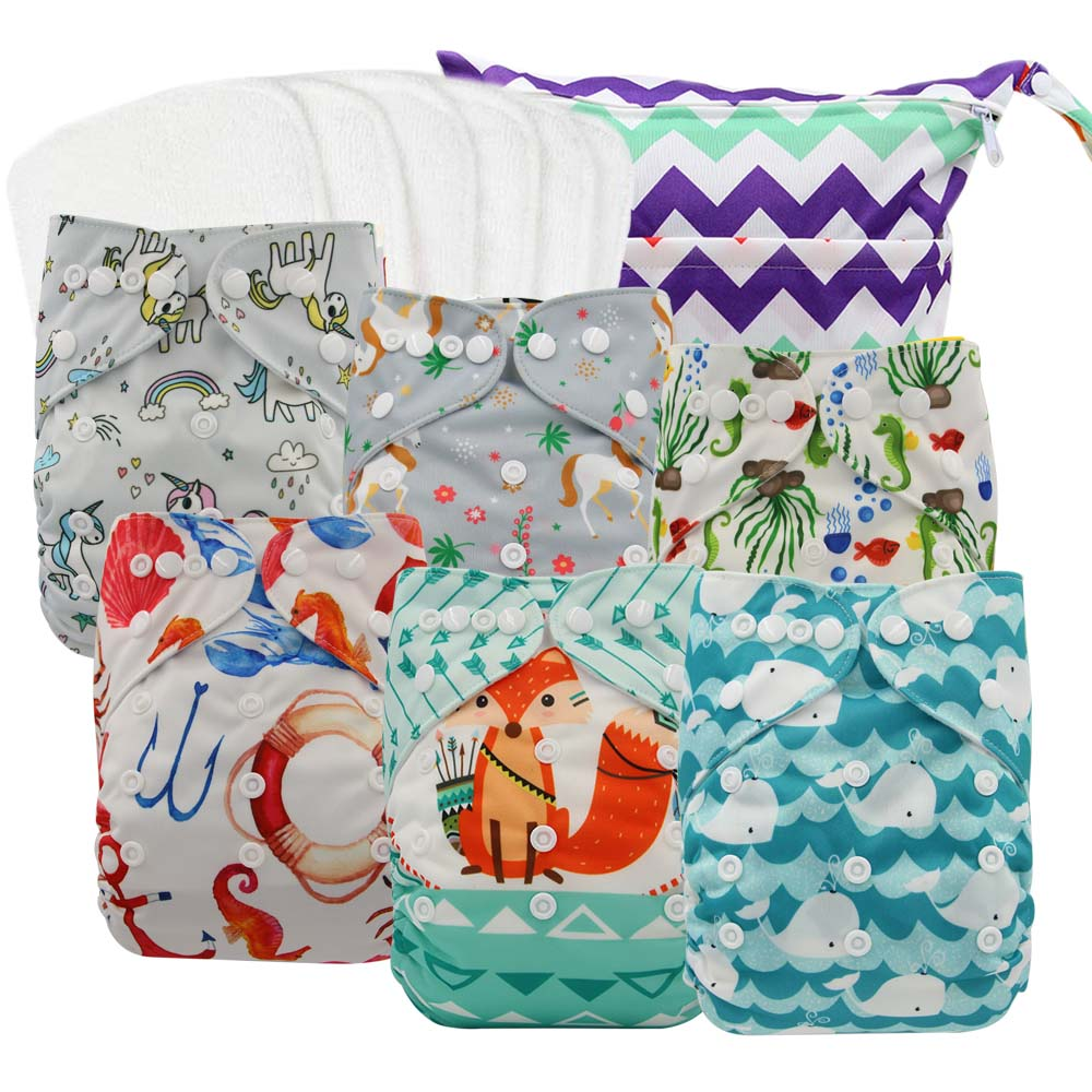 Couche Lavable Cloth Diapers Baby Washable Diapers Reusable Nappies Animals Printed Pocket Diaper 6pcs+6pcs Microfiber Inserts