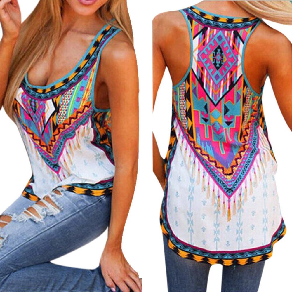 8b8538b512ebc Women Sexy Summer Sleeveless Vest Casual Tank Top Pattern Print ...