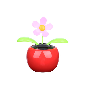 1PC New Moving Dancing Swing Flip flap Solar Toy Power Sunflower Apple Car gadgets Gift Home Toys Decorating Plants 4