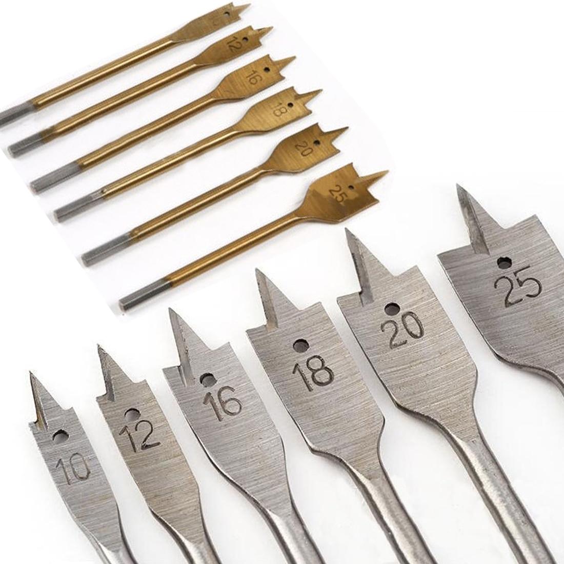 6pcs/set 10mm-25mm Flat Drill Long High-carbon Steel Wood Flat Drill Set Woodworking Spade Drill Bits  Woodworking Hand Tool
