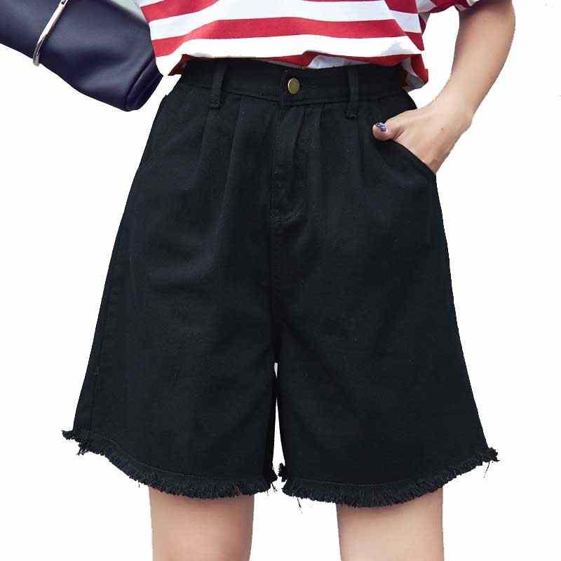 Высокая талия Элегантный Джинсовые шорты женские сексуальные джинсы короткие середины Длина широкую ногу с кисточкой хлопок синий тонкий плюс Размеры s-3XL