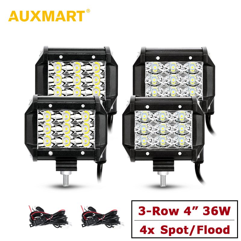 Auxmart 4pcs 4 Triple Row LED Driving Light Offroad Spot / Flood Beam Led Work Light 4x4 SUV ATV RZR Boat Trailer Truck 12v 24v auxmart triple row 22 34 42 50 curved