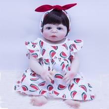 цена 55cm Silicone Reborn Baby Doll Toys Vinyl head and body limbs Princess Toddler Girl Babies Doll Christmas Gift Play House Toy онлайн в 2017 году