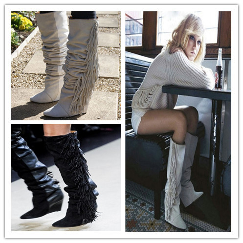 где купить  2017 Women Top vogue Suede Leather Boots Wedge Winter Shoes High Heeled Women Boots Fringe Tassel Knee High Long Boots free ship  по лучшей цене