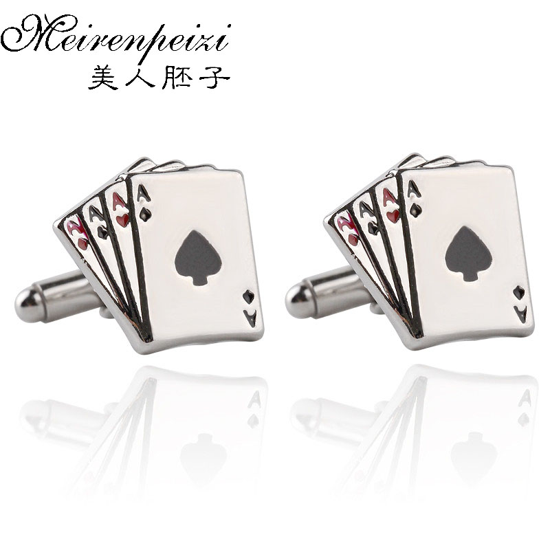 New Jewellery Cufflinks Male French Shirt Cuff Links Playing Cards Design Cufflink Fashion For Men Business Wedding Gift