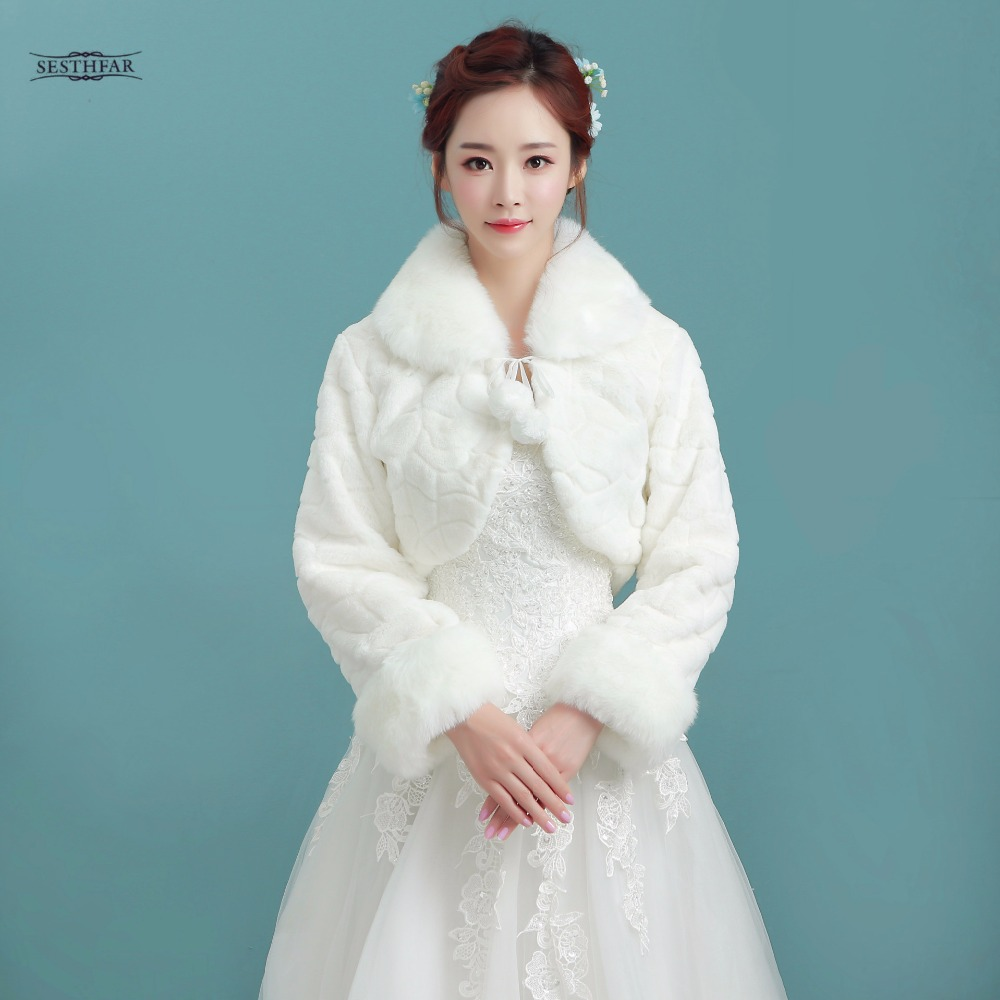White Short Wedding Jacket Wraps with Long Sleeves for Bridal Winter ...