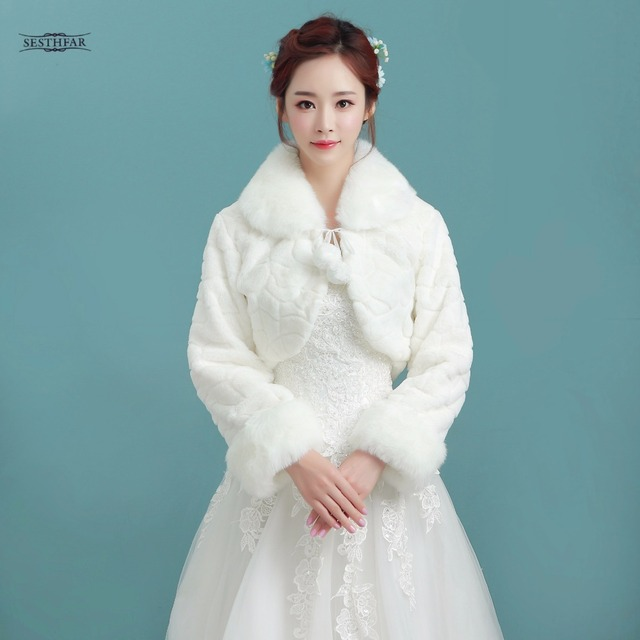 White Short Wedding Jacket Wraps With Long Sleeves For Bridal Winter