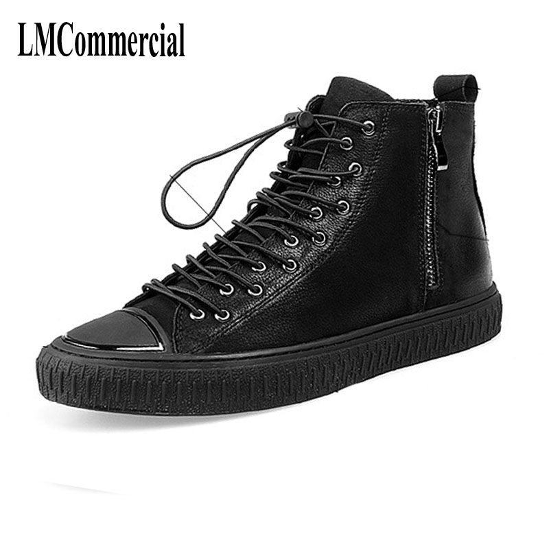 European station, spring and autumn men high shoes, Martin boots, men's boots, black zipper United States, leather shoes
