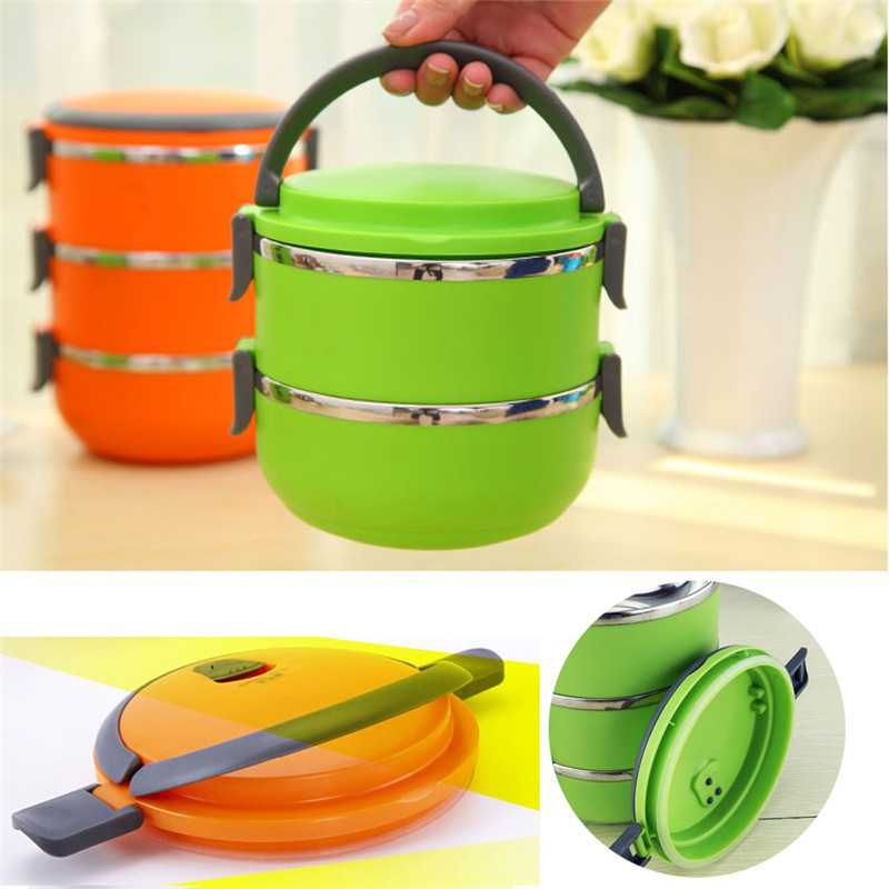Stainless Steel Bento Lunch Box for Kids Thermal Food Container Portable Dinnerware Sets blue three layers 3
