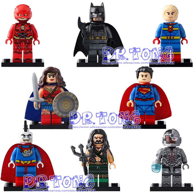 DR TONG Single Sale X0167 Super Heroes Marvel Superman Cybog The Flash Aquaman Bizarro Mister Fantastic