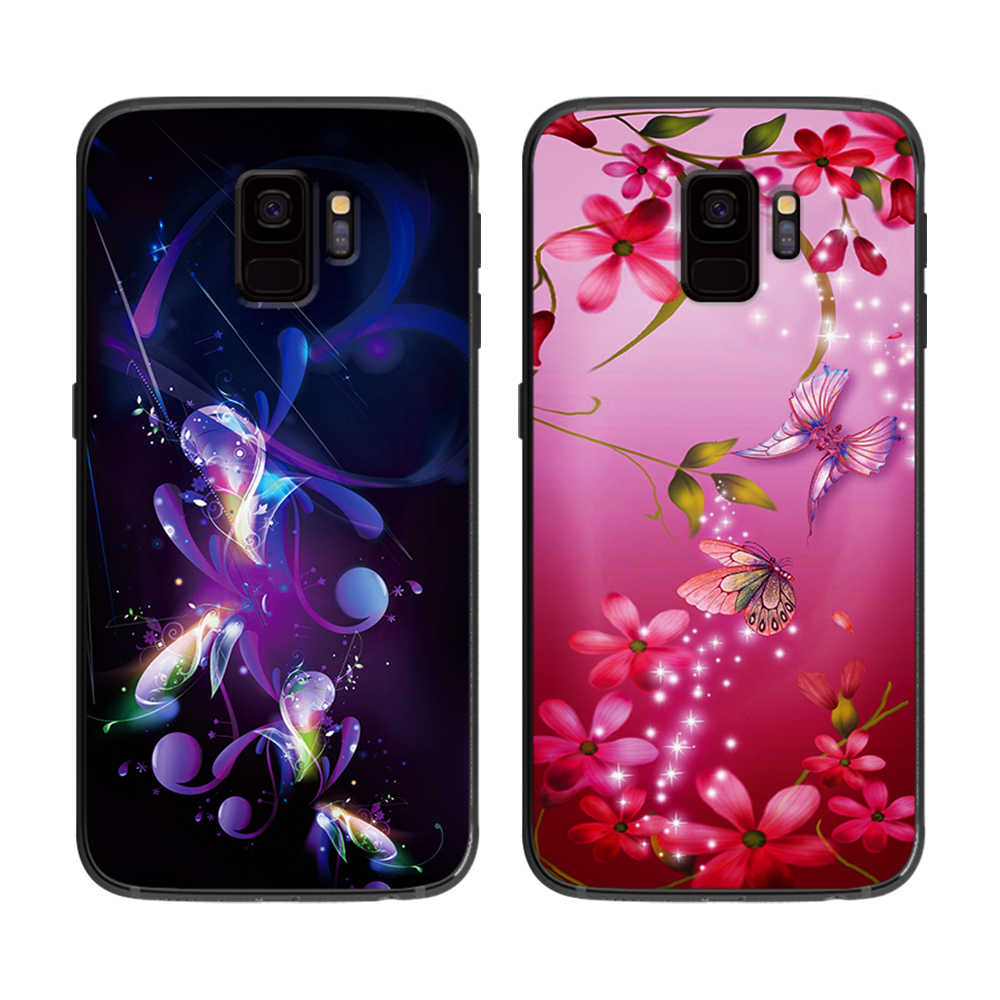 Beautiful love flowers soft phone cover case for Samsung Galaxy S6 S7 S8 S9 S10e Plus Note 8 9 Black silicone Cases