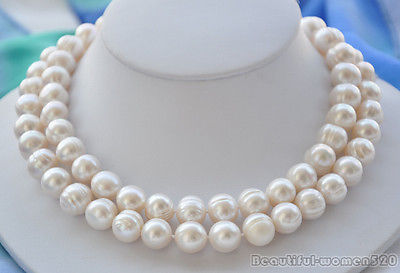 32  large NATURE white round long Freshwater pearl necklace women costume jewelry & 32