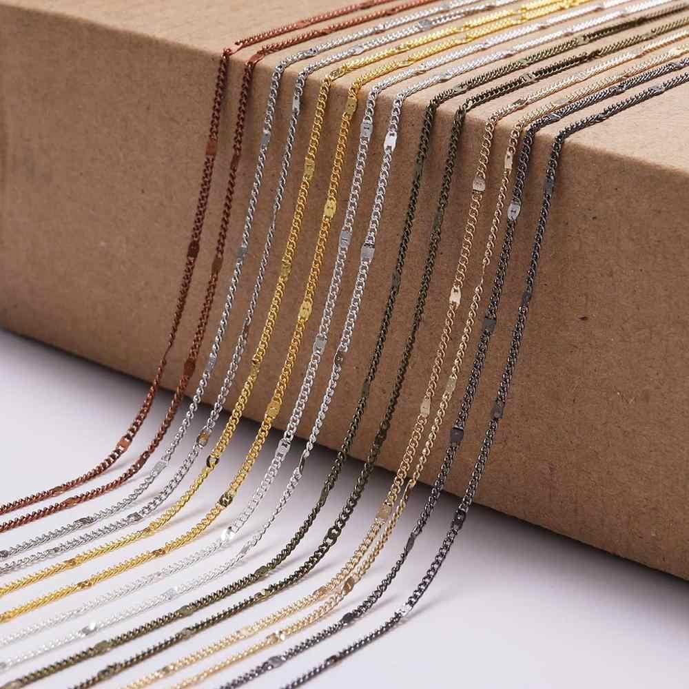 5 เมตร/ล็อตเงินทอง 1.3 มม.1.6 มม.2.0 มม.โซ่ชุบทองเหลืองวัสดุจำนวนมากสร้อยคอสำหรับเครื่องประดับการค้นพบอุปกรณ์