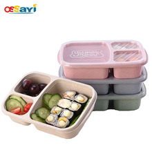 Lunch Box Wheat Straw Microwave Tableware Bento Box Quality Health Natural 3 Grid Student Portable Food Storage Box Lunch Box