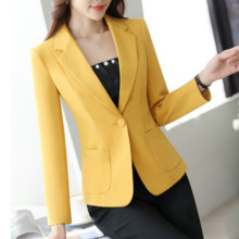 Ladies blazer casual office suit single button ladies business jacket 2019 new solid color slim small