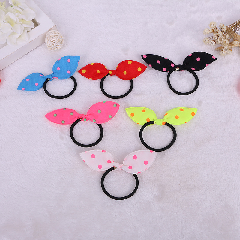 Dot Rabbit Ears Hair Ring Headwear,  Child Towel Ring Rabbit Ears Hair Ring, Best DIY Gift For Kids And Girls
