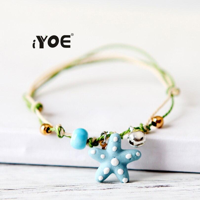IYOE браслет ручной работы с керамическими бусинами, браслеты для женщин, детей, морская звезда, бант, радуга, браслеты, очаровательные украше...