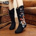 Горячие продажи черный Старинные обувь женская сапоги мода цветок вышитые Случайные женщины ботинки зимние для женщин botas mujer