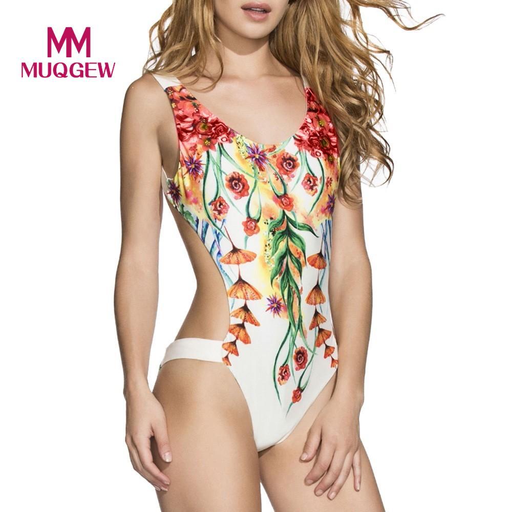 MUQGEW Swimwear Women One Piece Swimsuit Floral Bodysuit 2018 Brand New NewBathing Suit Monokini Swim Suit Maillot De Bain Femme