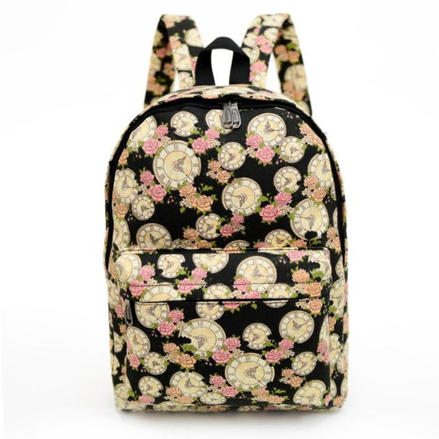 Fahion Women Canvas Retro Backpack Printing Flower School Bag For Agers Travel Shoulder Bags Laptop Backpacks