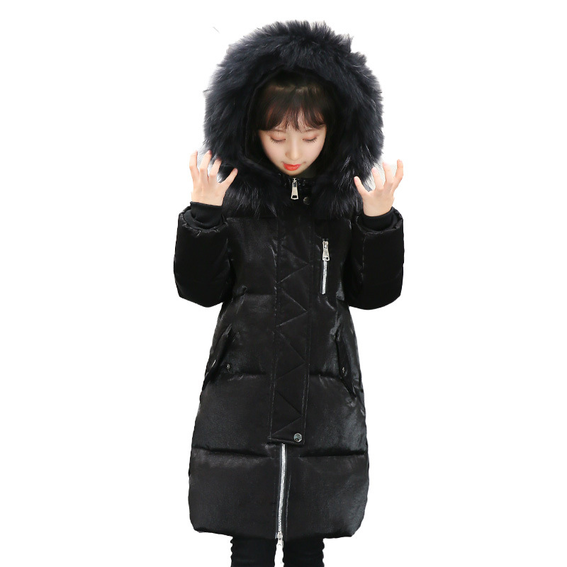 Winter 2017 Fur Hooded Jackets For Girls Thick Kids Long White Duck Down Coats Baby Big Girl Tops Children Outerwear & coats 100% white duck down women coat fashion solid hooded fox fur detachable collar winter coats elegant long down coats