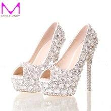 Handmade Silver Diamond Wedding Shoes Peep Toe Platforms Rhinestone Prom Party Shoes Super High Heel Stilettos