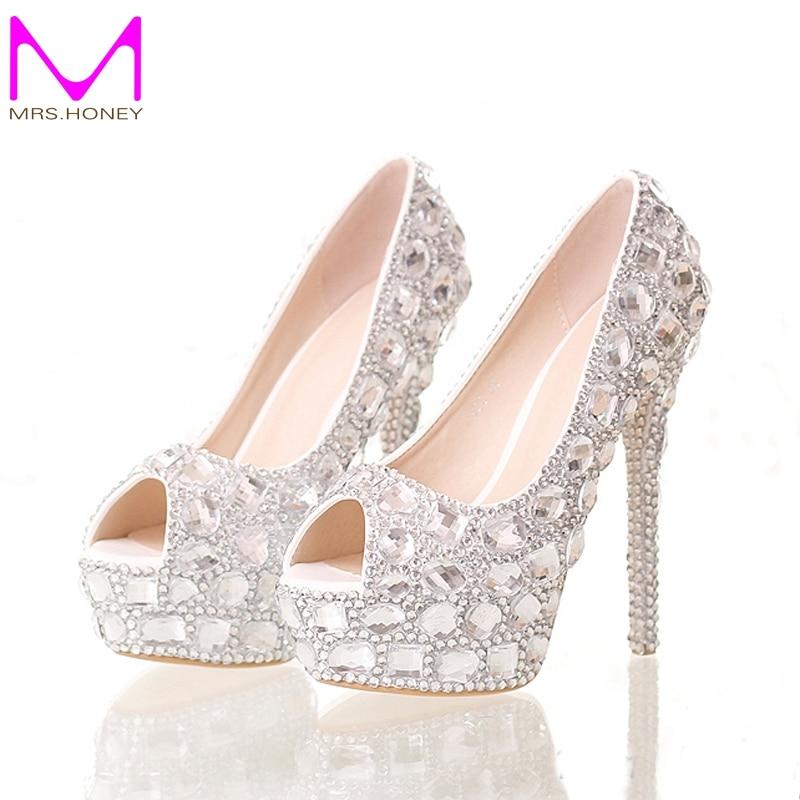 Handmade Silver Diamond Wedding font b Shoes b font Peep Toe Platforms Rhinestone Prom font b