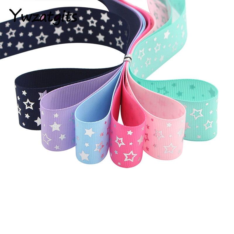 Ywzatgits 5y/6y 25 мм звезда печатных Grosgrain ленты лук рукоделие DIY швейных одежды упаковки аксессуар материалы 040054278