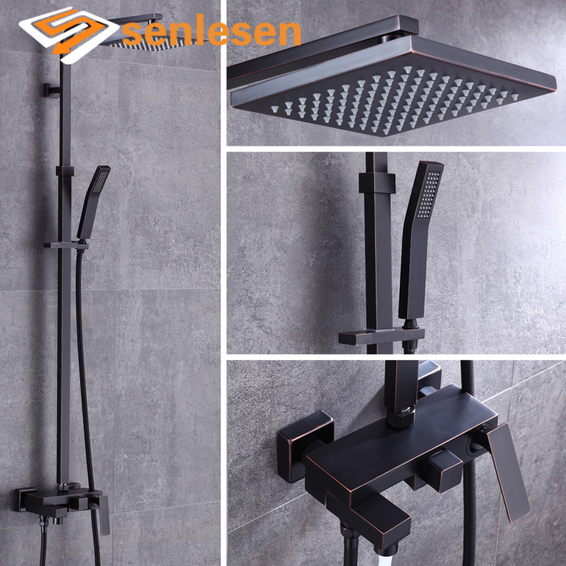 Senlesen Oil Rubbed Bronze Shower Faucet Wall Mount Bathroom Faucets Cold and Hot Single Mixer Tap Shower Set allen roth brinkley handsome oil rubbed bronze metal toothbrush holder