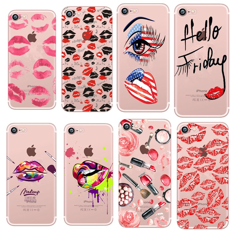 Phone Case For iPhone <font><b>7</b></font> <font><b>Sexy</b></font> lip print Makeup Full Protection PC Cover Coque For iPhone 6 6S X <font><b>7</b></font> 8 5 5s se Plus pink Funda Capa image