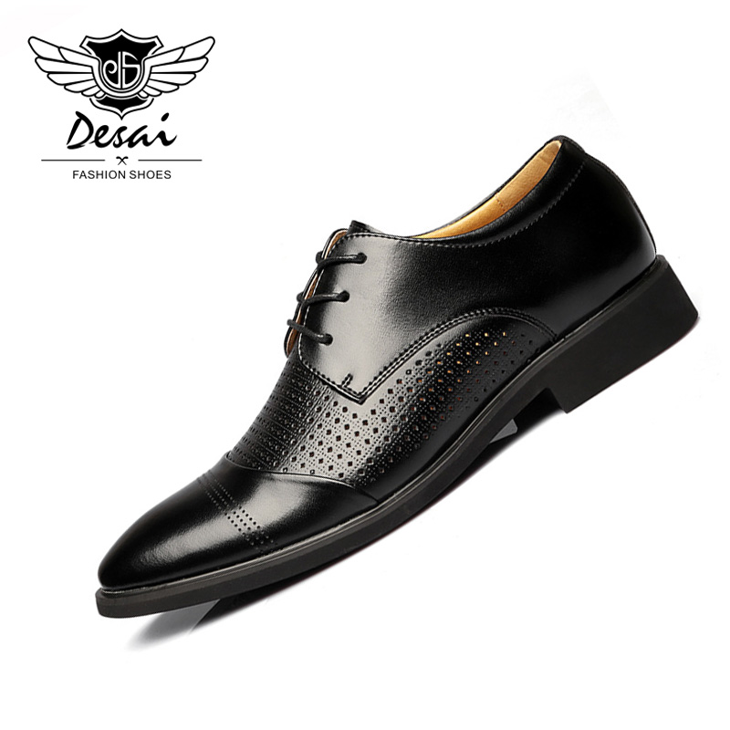 DESAI Summer New Hollow Leather Men s Sandals Business Leather Hollowing Ponted Teo Men Shoes Breathable