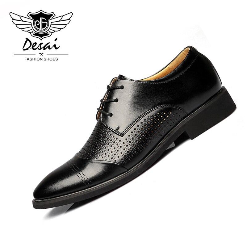 Ayakk.'ten Resmi Ayakkabılar'de DESAI Yaz Yeni Hollow Deri erkek Sandalet Iş Deri Oyma Ponted Teo erkek ayakkabısı Nefes Rahat Ayakkabı'da  Grup 1