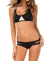 High Neck Bikinis Sexy High Neck Crop Top Hang Bikini Moerate Push Up Molded Cups