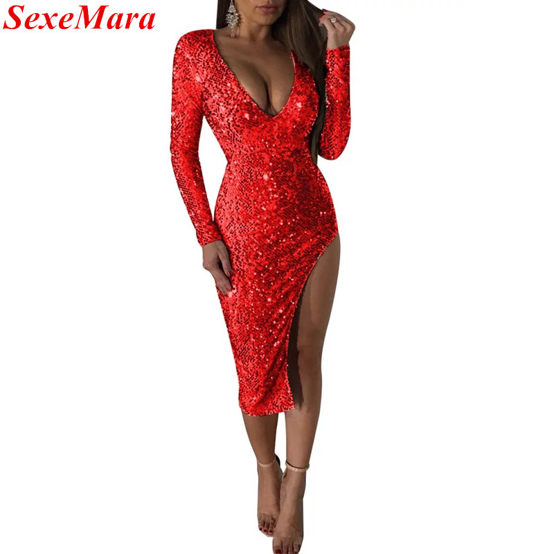 SexeMara New V Neck Split Side Open Sexy Ladies Slim Fit Curvy Long Sleeve Party  Club Bodycon Dress Vestidos Sequin Dress-in Dresses from Women s Clothing  ... 895ef6059387