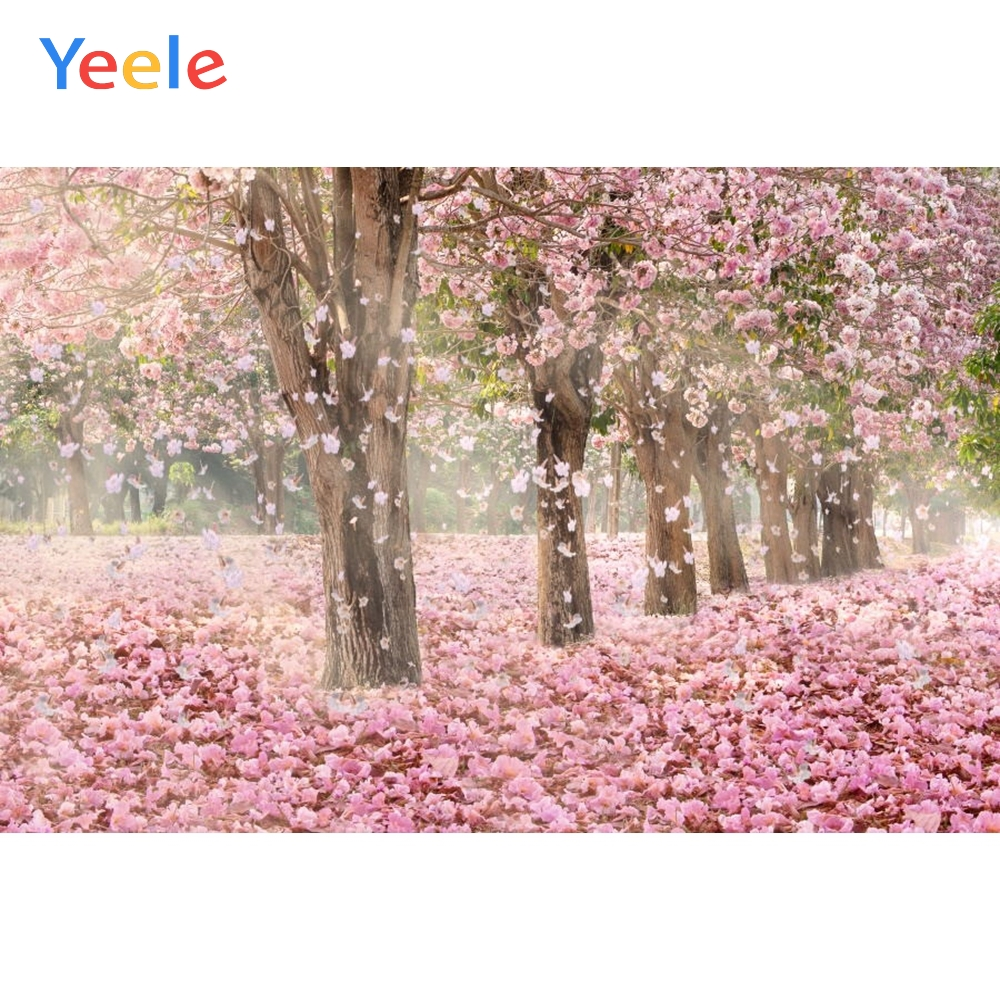 Yeele Depressed Flowers Leaves Scenery Pink Girls Photographic Backdrops Autumn Forest Photography Backgrounds For Photo Studio