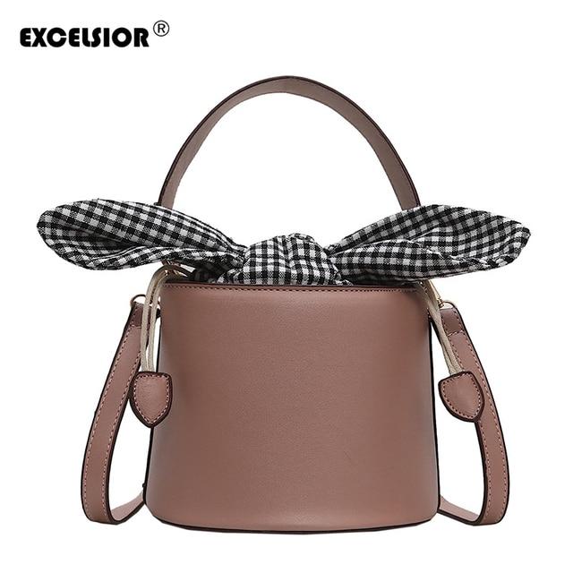 f30f012f0528 EXCELSIOR Cute Mini Women's Bags New Bucket Handbags Solid String Crossbody  Bag Luxury Shoulder Bag Lady
