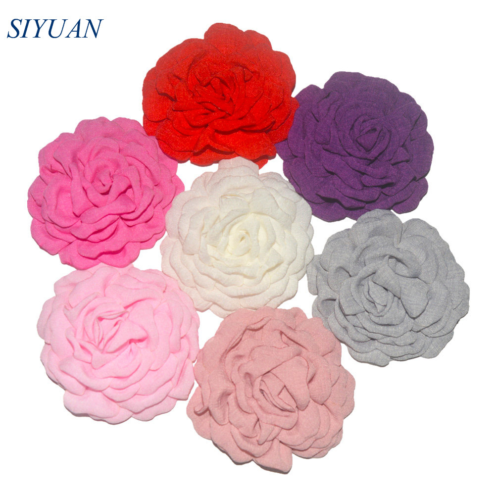 Wholesale 100pcs lot 3 5 inch Korea Hemp Fabric Burned Flower WITH WITHOUT Clip Lovely Hair