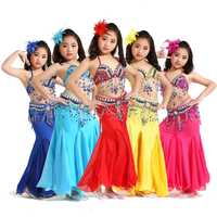 Belly Dance Costumes Girls Oriental Sequined Beaded Bra And Belt Bellydance Suit Kids Sexy Mermaid Skirt Performance Wear DN1932