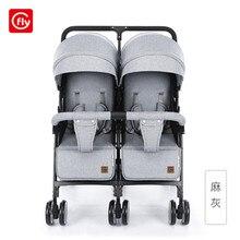 Детская коляска для близнецов, сидя и лежа, переносная детская коляска, складная, для второго ребенка, двойная коляска для новорожденного