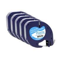5PCS für DYMO 91201 LT Label Band 12mm * 4M Schwarz Auf Weiß Kunststoff Label Bänder Kompatibel für DYMO Letra Tag Label Drucker