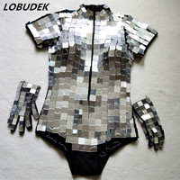 Handmade Mirrors Sparkly Sequins Bodysuit Sexy Silvery Jumpsuit Women Costumes Bar Nightclub Punk Hip Hop Singer Star DJ costume