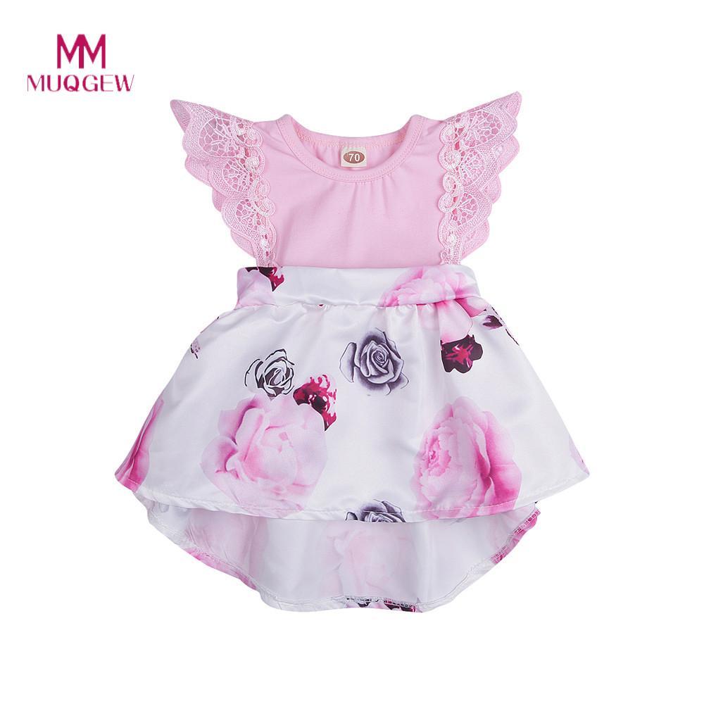 14a8aa750d51ac Zoete Meisjes Peuter Baby Baby Bloemenprint Kant Prinses Jurken Outfits  Zomer Vliegende Mouwen Prinses Jurk Voor