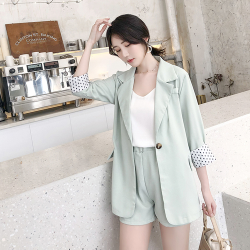 Temperament Button Two Pieces Spring Chic Casual Shorts For Women Suit Female