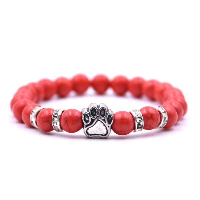 8 Mm Berwarna-warni Batu Alam Mala Manik-manik Beruang Kucing Anjing Paw Jejak Pesona Gelang Tiger Eye Chakra untuk Pet hewan Perhiasan