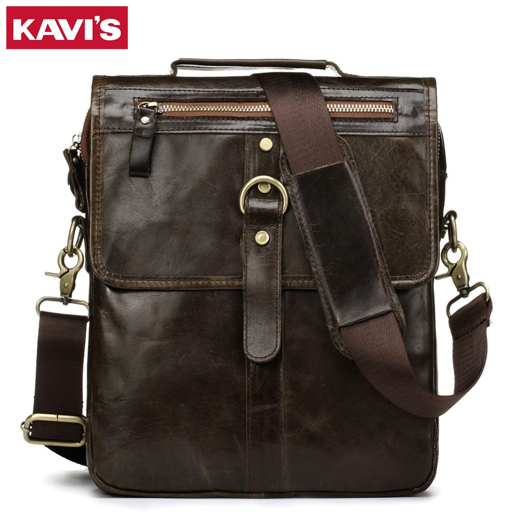KAVIS 100% Cowhide Genuine Leather Shoulder Bag Original Men Messenger Crossbody Handbag Sling Chest For Male Small Zipper Soft kavis 100