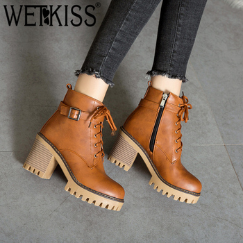 WETKISS Plus Size 44 High Heels Ankle Women Boots Round Toe Lace Up Footwear Female Motorcycle Boot Platform Shoes Women Winter
